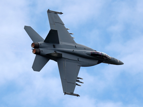 A Boeing F/A-18 Super Hornet at the Farnborough Airshow in July 2016.