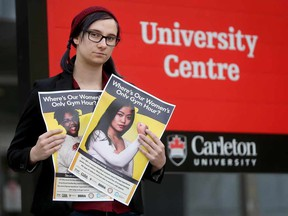 Carleton University student Sydney Schneider poses for a photo at the university in Ottawa Monday Nov 28, 2016. Sydney is the program coordinator at CU Students Association Womyn's Centre and they are campaigning for a women-only hour at the gym.