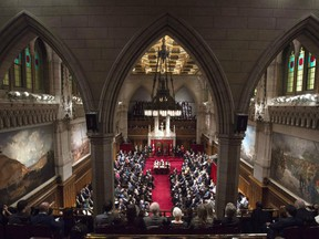 Governor General David Johnston delivers the speech from the throne in the Senate Chamber on Dec. 4, 2015.