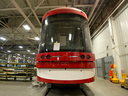 New Toronto streetcars sits under construction at the Bombardier factory in Thunder Bay, Ontario.