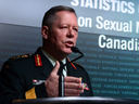 Gen. Jonathan Vance, Chief of the Defence Staff, speaks at a press conference regarding sexual misconduct in the Canadian Forces.