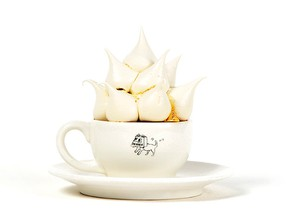 The Paul's Meringue Factory creation is a cup of espresso with milk, crowned with a mountain of airy meringues.
