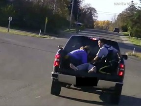 Footage from the dashboard camera of an RCMP cruiser captured the daring rescue of a man overdosing on fentanyl.