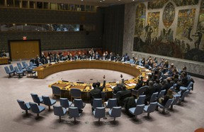 Members of the United Nations Security Council vote at the United Nations headquarters.
