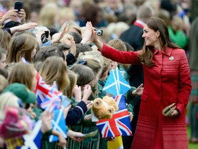 Catherine, Duchess of Cambridge greets fans at MacRostyy Park on May 29, 2014 in Crieff, Scotland.