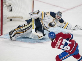 Montreal Canadiens' captain Max Pacioretty scores against Buffalo Sabres' goaltender Robin Lehner for one of his three goals in NHL action Tuesday night in Montreal. Pacioretty's effort paved the way to a 5-2 Montreal win.