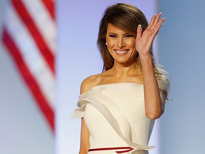 President Donald Trump introduces first lady Melania Trump at the Freedom Inaugural Ball at the Washington Convention Center January 20, 2017 in Washington, D.C.  President Trump was sworn today as the 45th U.S. President.