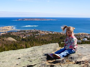Mayor Sébastien Després' daughter at the top of the Tolt — the highest point of land in Witless Bay.