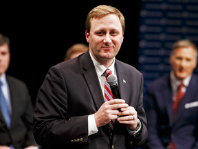 Candidate Brad Trost speaks at a Conservative leadership debate in February.