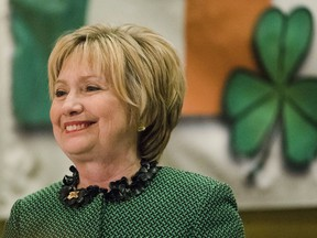 Hillary Clinton speaks at the Society of Irish Women's annual dinner on St. Patrick's Day in her late father's hometown in Scranton, Pa., Friday, March 17, 2017.