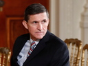 Then-National Security Adviser Michael Flynn sits in the East Room of the White House on Feb. 10, 2017.