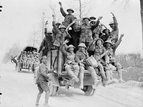 Victorious Canadians returning from Vimy Ridge in 1917.