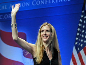 Ann Coulter waves to the audience after speaking in Washington in 2011.