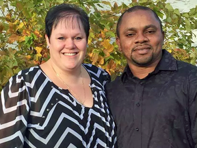 Michelle and Victor Omoruyi. Michelle has been charged with human smuggling after allegedly helping nine West African asylum seekers across the U.S. border into Saskatchewan. Victor is being held in jail in North Dakota in connection to the same investigation.