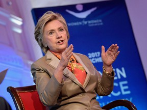 Former United States Secretary of State Hillary Clinton speaks during The Women For Women International's Luncheon at 583 Park Avenue on May 2, 2017 in New York City, where she spoke about her election loss.