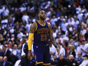 Cleveland Cavaliers forward LeBron James walks down the court against the Toronto Raptors on May 7.