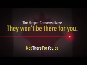 A screengrab from an anti-Harper ad from Engage Canada