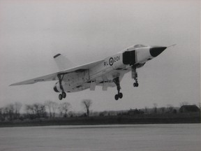 The first Avro Arrow jet fighter interceptor takes to the skies over Toronto on March 25, 1958.