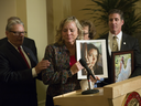 Debbie Ziegler, mother of Brittany Maynard, speaks to the media after the passage of legislation, that allows terminally ill patients to legally end their lives.