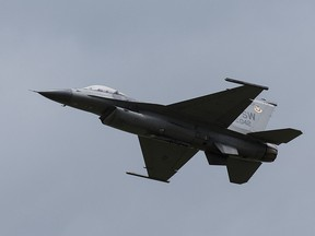 A United States Air Force F-16 fighter jet.