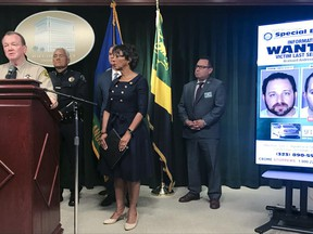 Los Angeles Sheriff Jim McDonnell, left, talks as District Attorney Jackie Lacey looks on during a news conference Monday, June 26, 2017, in Los Angeles. Los Angeles County law enforcement officials told reporters Monday that prior to his arrest last week, 35-year-old Aramazd Andressian Sr. had changed his appearance and had been socializing in Las Vegas, conduct characterized as inconsistent with that of a grieving parent. Sheriff's Department homicide investigators would not release specific details of what led to the filing of the murder charge when the body of 5-year-old Aramazd Andressian Jr. has not been found.(AP Photo/Mike Balsamo)