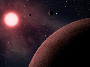 An artist's concept depicts a tiny planetary system called KOI-961, based on data received through NASA's Kepler mission and ground-based telescopes.