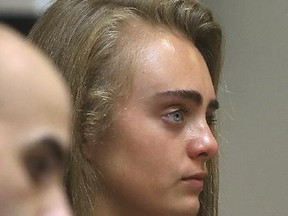 Michelle Carter looks on after closing arguments were made during her trail Tuesday, June 13, 2017, in Bristol Juvenile Court in Taunton, Mass. Carter was found guilty of involuntary manslaughter for encouraging 18-year-old Conrad Roy III to kill himself in July 2014.