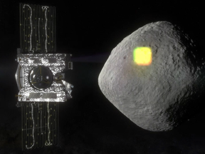 This artist's rendering  shows the mapping of the near-Earth asteroid Bennu by the OSIRIS-REx spacecraft.