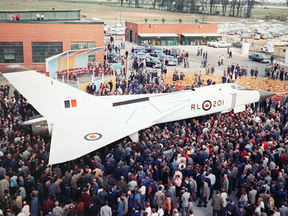 The Avro Arrow makes its debut in front of Avro employees and invited guests in 1957.