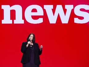"""Jennifer McGuire, general manager and editor-in-chief, CBC News, speaks during the CBC upfront showcasing the CBC 2017-18 fall/winter lineup in Toronto on Wednesday, May 24, 2017. CBC will announce who will host its flagship news program """"The National"""" at a news conference on Tuesday. THE CANADIAN PRESS/Nathan Denette"""