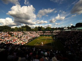 A general view of play on court two during Milos Raonic's match against Alexander Zverev at Wimbledon on July 10.