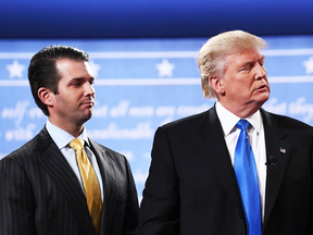 Donald Trump Jr. with his father Donald Trump in September 2016.