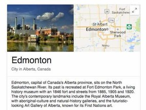 The knowledge card that pops up when people Google Edmonton features the unimpressive Rossdale Power Plant, something tourism promoters for the city would like to see changed. For Mitch Goldenberg story in July 23, 2017 editions. (Google.com)