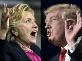A collage of photos of Hillary Clinton and Donald Trump
