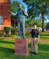 Sculptor Zenos Frudakis stands by his new statue of Clarence Darrow.