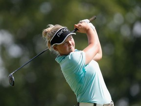Brooke Henderson tees off on the fourth hole at the U.S. Women's Open on July 13.