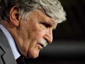 Senator Romeo Dallaire announces he will retire from the Senate during a news conference on Parliament Hill in Ottawa on Wednesday, May 28, 2014. Retired general and senator Dallaire says Canada should finally embrace ballistic missile defence. THE CANADIAN PRESS/Adrian Wyld