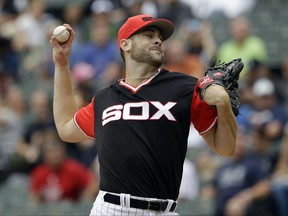 Chicago White Sox starting pitcher Lucas Giolito throws against the Detroit Tigers during the first inning of a baseball game Sunday, Aug. 27, 2017, in Chicago. (AP Photo/Nam Y. Huh)