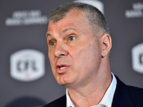 CFL commissioner Randy Ambrosie speaks during a press conference in Toronto on July 5.