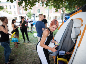 A pop-up safe injection site that was set up in Toronto's Moss Park on the weekend.