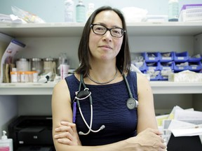 Dr. Jennifer Chan in an examination room at one of her practices in Winnipeg, Manitoba.