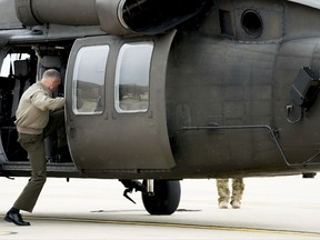 Joint Chiefs Chairman Gen. Joseph Dunford boards a helicopter at Osan Air Base in Pyeongtaek, South Korea, Monday, Aug. 14, 2017, to travel to U.S. Army Garrison Yongsan in Seoul, South Korea. (AP Photo/Andrew Harnik)