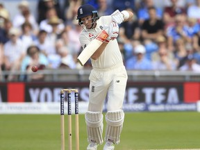 England's captain  Joe Root, plays a shot against the West Indies  during day four of the the second  cricket Test match at Headingley cricket ground in  Leeds, England Monday Aug. 28, 2017. (Nigel French/PA via AP)