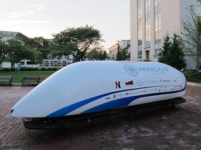 The Paradigm Hyperloop pod, built in part by students from Memorial University in Newfoundland and Labrador.