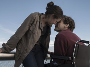 """This image released by Roadside Attractions shows Tatiana Maslany, left, and Jake Gyllenhaal in a scene from """"Stronger.""""  The film, which chronicles the story of Boston Marathon bombing survivor Jeff Bauman, will screen at the Spaulding Rehabilitation Hospital in Charlestown on Sept. 12, where Bauman and others who were injured in the 2013 deadly attack were treated. (Scott Garfield/Lionsgate and Roadside Attractions via AP)"""