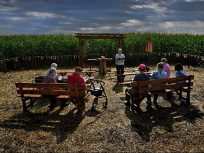 Sister George Ann Biskan leads a group of nuns and supporters during a prayer service in a chapel in a cornfield in Pennsylvania's Lancaster County. The chapel was built there as part of a protest against a pipeline.