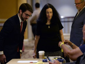 Former University of North Carolina secretary Deborah Crowder arrives at an NCAA hearing Wednesday, Aug. 16, 2017, in Nashville, Tenn.  It has taken more than two years for North Carolina to appear before an NCAA infractions committee panel since initially being charged with five top-level violations amid its long-running academic scandal. (AP Photo/Mark Zaleski)