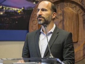 FIn this April 2, 2015 file photo, Expedia's CEO Dara Khosrowshahi announces his company is moving 3,000 employees from Bellevue, Wash., to Seattle's waterfront in 2016, during a news conference in Seattle.