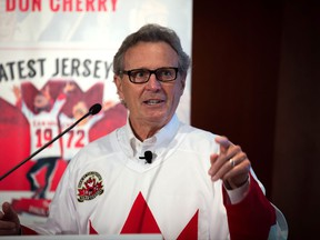 """Paul Henderson attends an event at the Hockey Hall of Fame in Toronto on Thursday, Sept. 28, 2017. Henderson launched a youth campaign called the """"Greatest Jersey Ever"""" on the 45th anniversary of his Game 8 series winning goal in the 1972 Summit Series. THE CANADIAN PRESS/Chris Donovan"""