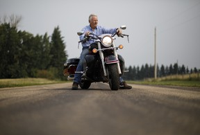Mark Pennie pictured in Fort Saskatchewan Alberta, August 18, 2017. Mark Pennie relies on multifocal contact lenses to stay active on his motorcycle.